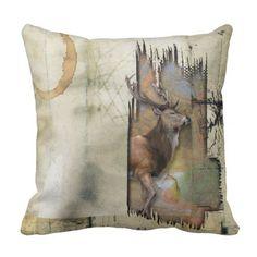 3D Rustic Coffee-Circle-Mark 'Deer' Throw Pillow - white gifts elegant diy gift ideas