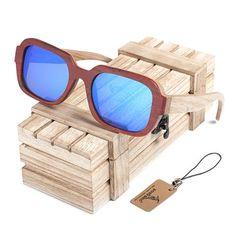 a573e7b283 Polarized Men s   Women s Wooden Frame Mirror Sunglasses With Wooden Gift  Box - Blue Orange Lens