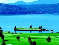 Coeur D'Alene - incredible golf course in Idaho! Check out the floating green...