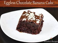 eggless chocolate banana cake - learn with step by step photos how to make a easy, soft, moist and delicious vegan and eggless chocolate banana cake Vegan Chocolate, Chocolate Recipes, Chocolate Cake, Eggless Banana Muffins, Cake Tasting, Vegan Baking, Tray Bakes, Cake Recipes, Cooking Recipes
