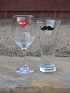 Wine glass with lips and beer flute with mustache.