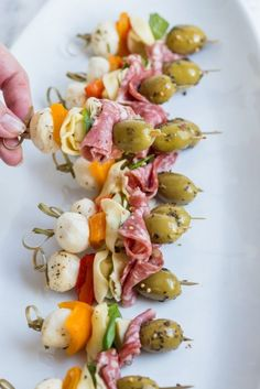Antipasto Skewers | Party appetizers, entertaining ideas, party ideas, party recipes and more from /cydconverse/
