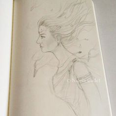 Another quick sketch (no reference)... I think I want to turn some of these into paintings. #artistsoninstagram sketching #pencildrawing #woman #wind