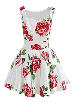 White Sleeveless Bandeau Floral Tank Dress pictures