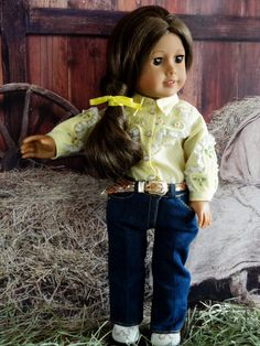 American Girl Doll fancy western shirt zippered by designsbyorvie American Girl Clothes, Girl Doll Clothes, Girl Dolls, Western Outfits, Western Shirts, Western Wear, Rodeo Time, Bottle Cap Crafts, White Lace