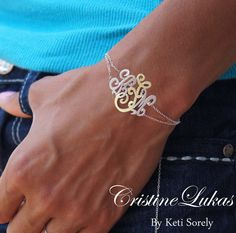 Designer Monogram Bracelet - 2 Tone - Initials Bracelet with Double Chain - Order Your Name Initials - Sterling Silver