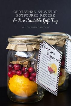 diy Christmas Stovetop Potpourri Recipe and Free Printable Gift Tag::Bloggers Best 12 Days of Christmas ideas | Neighbor Gift Idea | jar crafts