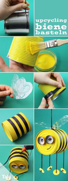 useful upcycled crafts Anleitung - Bienen basteln - Konservendose - Upcycling - Talu. Kids Crafts, Tin Can Crafts, Diy And Crafts, Craft Projects, Projects To Try, Arts And Crafts, Creative Crafts, Easter Crafts, Summer Crafts