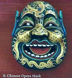 Chinese Opera Mask Ornate, hand painted wooden mask. This mask depicts a dedicated officer who guarded a Tang dynasty emperors bedroom chamber against evil spirit.