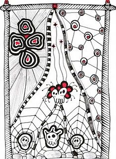 """Zentangle inspired """"Samhain"""". India Ink and Markers. #zentangle #doodle #ink @Cami Robelotto Mccarty http://timelessrituals.blogspot.com"""