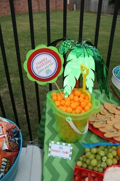 Beach balls pool party - like the sand bucket for snacks!