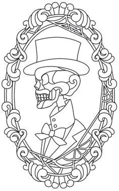 His Skeleton Cameo design (UTH11759) from UrbanThreads.com