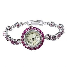 Natural African Ruby Antique-like Vintage Circle Station Watch 925 Silver - Jewelry For Her