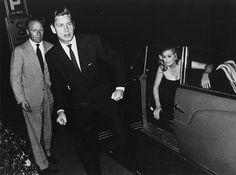 Anthony Steel And Anita Ekberg chased by Paparazzi in Via Veneto, Rome, 1963
