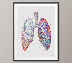 Lungs Anatomy Watercolor Print Decor Medical Art Print Science