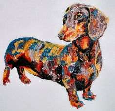 Daschund doxie art limited edition print by SportsHorseArtist, $39.95