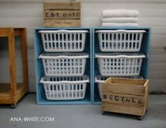Laundry Basket dresser: I would actually use this to fold and sort clean clothes in the basement and then give each kid their basket to empty into their drawers. Love this