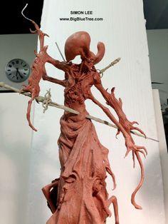 Simon Lee (Spiderzero) My Gray Skull 3 sculpture in clay