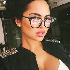 8b84fd4fce Vintage Cat Eye Celebrity Sunglasses Women Oversize Female Brand Sunglass  Rivet Mirror Sun Glasses Lunette De