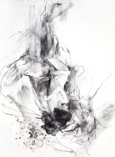 "A charcoal sketch of ""Falling in Love"", examining the sensual curves and soft shading."