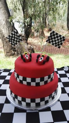 Racing Cake with Marshmallow Fondant and checkerboard centre.