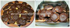 galletas de bizcocho con chocolate y melocotón