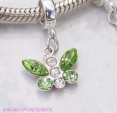 Green Butterfly Crystal Charm Fits Pandora, Biagi or Troll $18.99