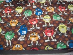 Set of 2 Flannel Pillowcases M M's on Brown New Handmade | eBay