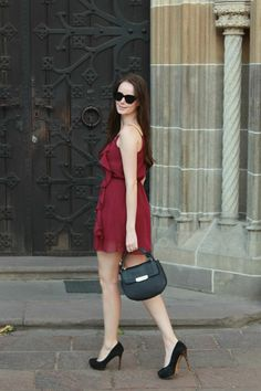 Stiletto in the Cloud: Burgundy Summer Dress