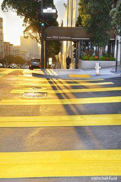 Yellow Strip On Street On Nob Hill,  San Francisco By Mitchell Funk   www.mitchellfunk.com