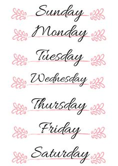Header Ideas - Days of the Week - Bullet Journal Bullet Journal Calendrier, Bullet Journal Notes, Journal Layout, Journal Pages, Journal Ideas, Creative Lettering, Printable Planner Stickers, Calligraphy Letters, Bullet Journal Inspiration