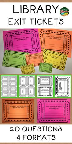 Easy to Use Library Exit Tickets! This set contains 20 questions about reading and reading habits. 4 formats for each question. Library Lesson Plans, Library Skills, Library Lessons, Elementary School Library, Elementary Schools, School Library Decor, Upper Elementary, Library Inspiration, Library Ideas