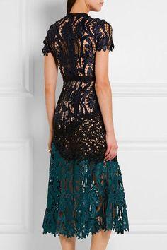 Self-Portrait | Prairie guipure lace midi dress | NET-A-PORTER.COM