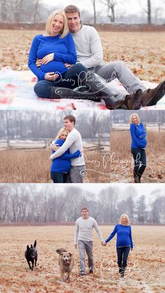 outdoor maternity photo, family portraits with dogs, outdoor winter maternity © Dimery Photography 2013