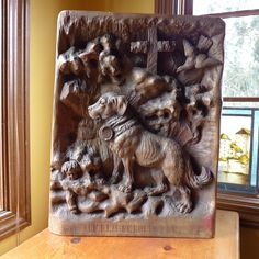 Barry, the famous Swiss Alpine rescue dog.  Black Forest relief. Swiss 1870 Alpenholz Antiques