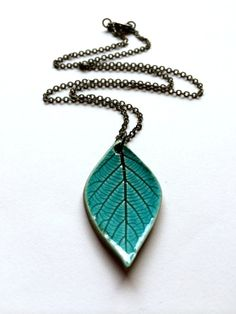 Small Turquoise Ceramic Leaf Pendant by AlainaSheenDesigns on Etsy, $18.00