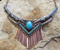 Cowgirl Gypsy Boho Copper Patina Arrow Turquoise Tribal Aztec Necklace set #mia