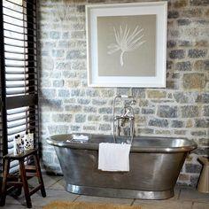 stone wall + copper tub