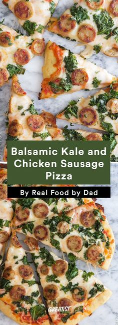 Your kids will love this healthy Balsamic Kale & Chicken Sausage Pizza Italian Recipes, New Recipes, Real Food Recipes, Chicken Recipes, Cooking Recipes, Chicken Sausage Pizza Recipe, Recipe Chicken, Pizza Cool, Quick Pizza