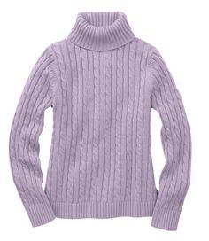 Double L Cotton Sweater, Cable Turtleneck, Purple Vista (also available in Rich Violet)