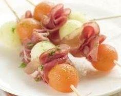Brochettes de melon, mozzarella et jambon cru (facile, rapide) - Une recette CuisineAZ
