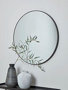 - Mirror Designs - Slim Black Frame Round Mirror NEW Slim Black Frame Round Mirror - Wall Mirrors - Mirrors. Hall Mirrors, Entryway Mirror, Living Room Mirrors, Living Rooms, Black Round Mirror, Round Wall Mirror, Round Mirrors, Mirror On The Wall, Black Framed Mirror