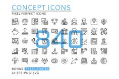 840 CONCEPT LINE ICONS by eucalyp on @creativemarket