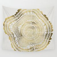 Wall Tapestries featuring Gold Tree Rings by Cat Coquillette