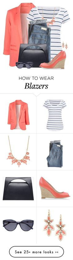 """Boyfriend Blazer & Striped Tee"" by brendariley-1 on Polyvore"