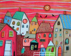 Red Sky ORIGINAL CANVAS PAINTING 16x20 inch FOLK ART houses cats birds Karla G