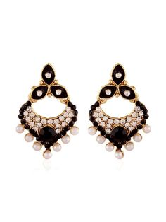 Delightful gold plated brass metal #Earrings is decorated with stones, pearls work. Item Code: JRUM544 http://www.bharatplaza.com/jewellery/earrings.html