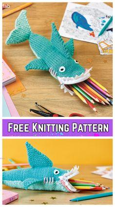Knit Shark Pencil Case Free Knitting Pattern for Kids