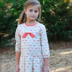 Girls dress with long sleeves and drop waist  by SchoolHouseFrock, $53.00