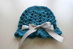 shell stitch crocheted baby hat